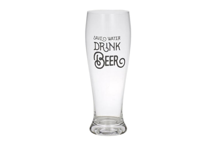 Giftworks 550ml Beer Drink Drinking Glass Barware - Save Water Drink Beer Clear