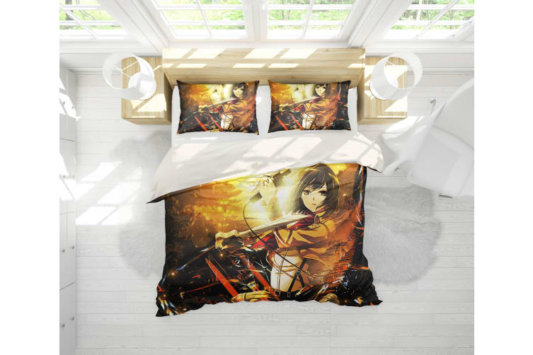 3D Anime Attack Giant Quilt Cover Set Bedding Set Pillowcases 89-Queen