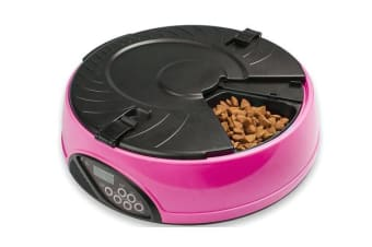 330Ml X6 Meal Digital Lcd Automatic Pet Feeder Dog Cat Food Bowl Timer Pink