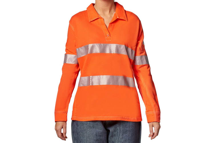 Hard Yakka Women's Bulwark iQ Flame Resistant Hi-Vis Taped Long Sleeve Polo (Orange, Size 4XL)