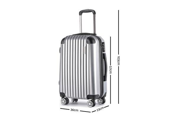 3 Piece Luggage Suitcase Trolley (Silver)