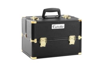 Portable Beauty Makeup Case Diamond (Black/Gold)