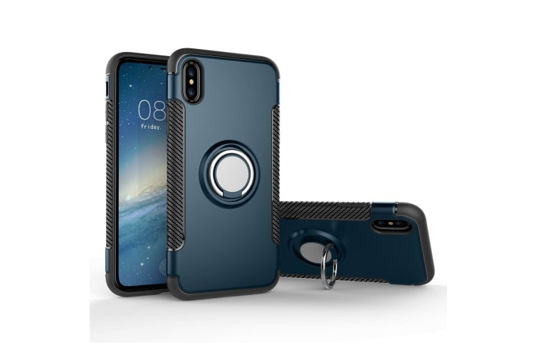 For iPhone XS X Case Styled Magnetic 360 Degree Rotation Ring Armour Cover Navy