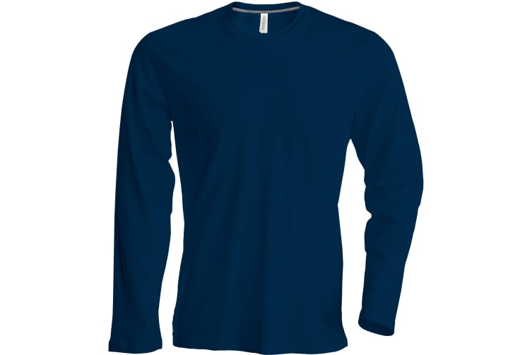 Kariban Mens Slim Fit Long Sleeve Crew Neck T-Shirt (Navy) (L)