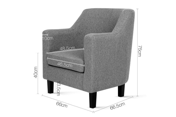 Square Backed Fabric Dining Armchair (Grey)
