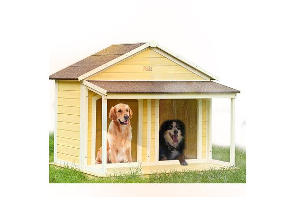Wooden Timber Dog House Kennel with Two Doors