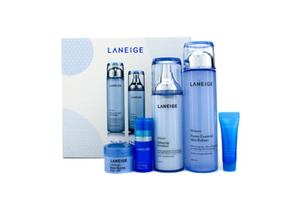 Laneige New Basic Duo Set (Moisture): Skin Refiner + Emulsion + Sleeping Pack EX + Essence EX + Moisture Cream EX (5pcs)