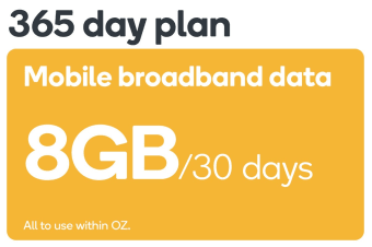 Kogan Mobile Broadband Voucher Code: DATA S (8GB | 365 DAYS Per 30 Days)