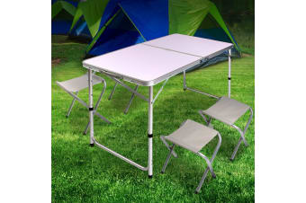Weisshorn Folding Camping Table and 4 Portable Chairs Set Picnic Outdoor Garden BBQ Setting