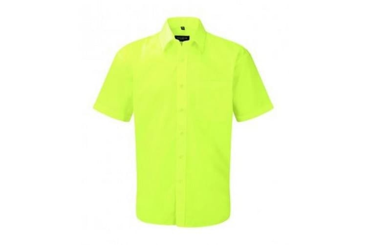 Russell Collection Mens Short Sleeve Poly-Cotton Easy Care Poplin Shirt (Lime) (19.5)