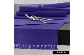 Cotton Ribbed Table Runner 45cm x 200cm - ULTRA VIOLET