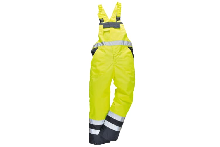 Portwest Unisex Contrast Hi Vis Bib And Brace Coveralls - Unlined (S488) / Workwear (Yellow/ Navy) (M)