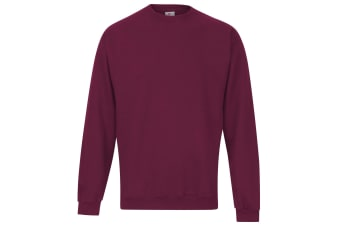 RTXtra Mens Classic Plain Crew Neck Sweatshirt Top (Burgundy)