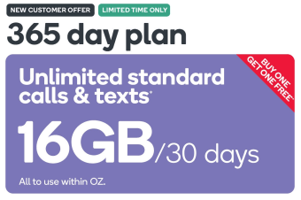 Kogan Mobile Prepaid Voucher Code: LARGE (365 Days | 16GB Per 30 Days) - Buy One Get One Free