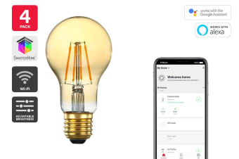 Kogan SmarterHome™ 5W Smart Dimmable LED Filament Bulb A-19 (E27) - 4 Pack