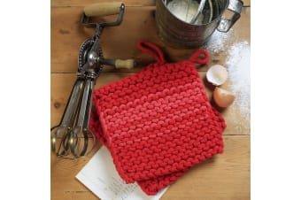 RetroKitchen Turquoise Knitted Pot Holders Set of 2