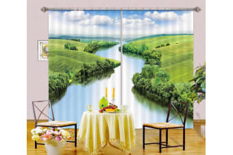 3D Forest River 105 Curtains Drapes