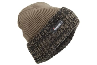 Mens Thinsulate Thermal Knit Winter Beanie Hat (3M 40g) (Olive Green/Black) (One Size)