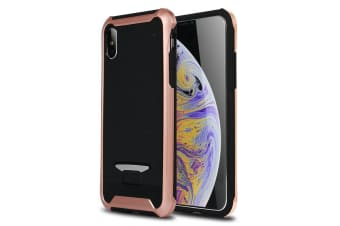 For iPhone XS Max Cover Bumblebee Thin Granule Textured Shielding Case Rose Gold