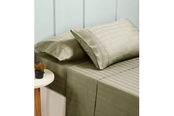 New Bed Sheets Set 1000TC Cotton Blend Flat Fitted Double/Queen/King Size - Queen - Pumice Stone