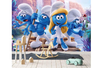 3D The Smurfs Boating 44 Anime Wall Murals Woven paper (need glue), XXXXL 520cm x 290cm (WxH)(205''x114'')