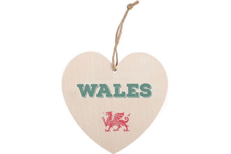 Something Different Wales Welsh Hanging Heart Sign (Multicoloured) (One Size)