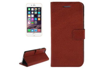 For iPhone 6S PLUS 6 PLUS Fashion Brown Genuine Leather Wallet Case Card Slot