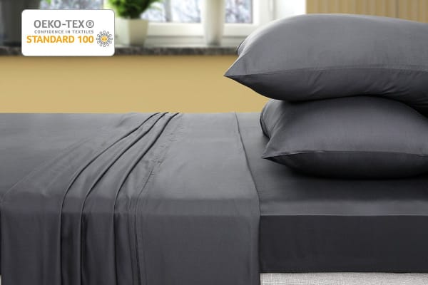 Ovela 400TC 100% Bamboo Bed Sheet Set (King Single, Charcoal)