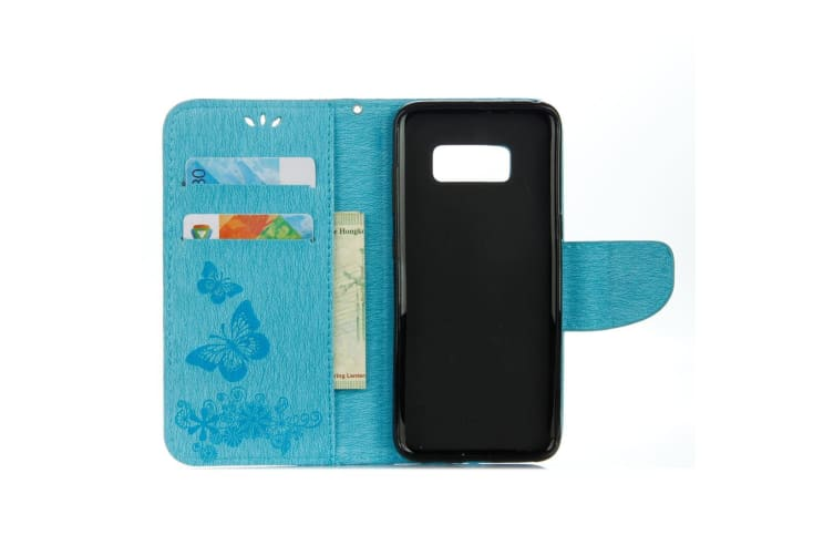 For Samsung Galaxy S8 Wallet Case Fancy Butterflies Embossed Leather Cover Blue