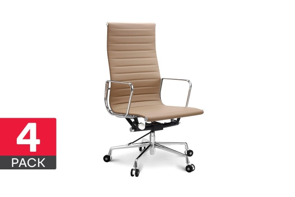 4 Pack Ovela Executive Eames Replica High Back Ribbed Office Chair (Light Brown)