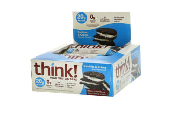 ThinkThin, High Protein Bars, Cookies and Creme, 10 Bars, 2.1 oz (60 g) Each