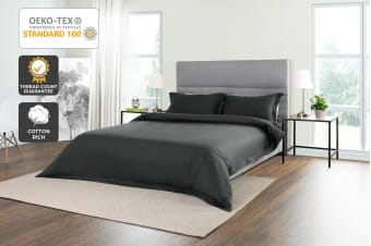 Trafalgar 1500TC Cotton Rich Luxury Quilt Cover Set (King, Charcoal)
