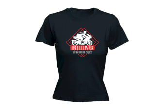123T Funny Tee - Moto Riding Is My Drug Of Choice - (Small Black Womens T Shirt)