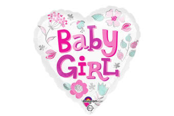 Anagram 18 Inch Baby Girl Heart Foil Balloon (White/Pink) (One Size)