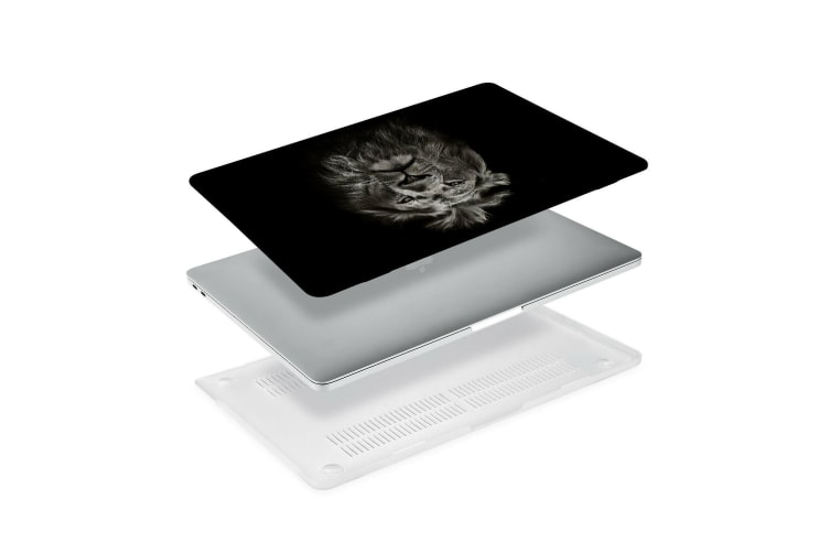 """Hard Case Cover for Apple Macbook Pro 13"""" Inch A1708-Matte Clear-Black White Lion"""