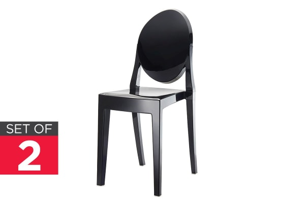 Ovela Set of 2 Ghost Dining Chairs (Black)
