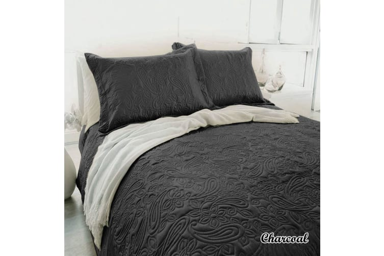 Paisley Embossed Charcoal Coverlet Set Queen/King by Bambury