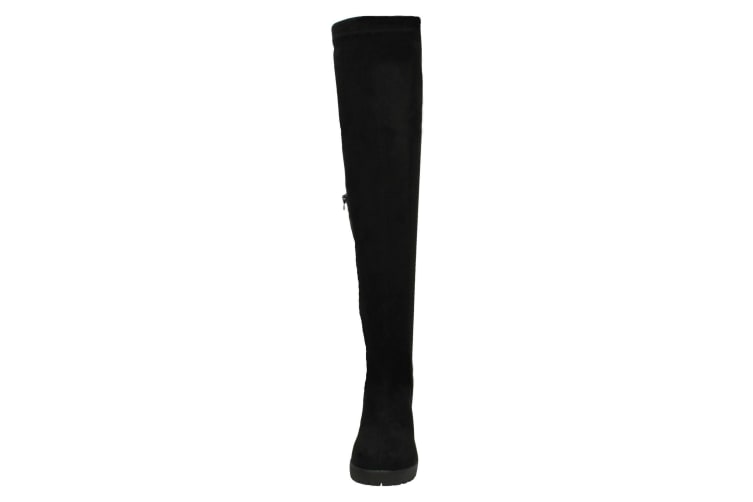 Spot On Womens/Ladies Chunky Knee High Boots (Black) (UK Size 4)