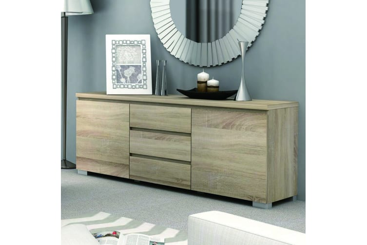 High Gloss Buffet Storage Cabinet Sideboard Dresser Table Cupboard Oak