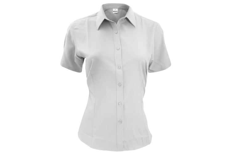 Henbury Womens/Ladies Wicking Short Sleeve Work Shirt (White) (XL)