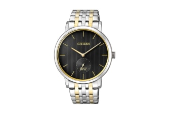 Citizen Men's Analog Quartz Watch with Push Button Buckle - Stainless Steel/Black (BE9174-55E)
