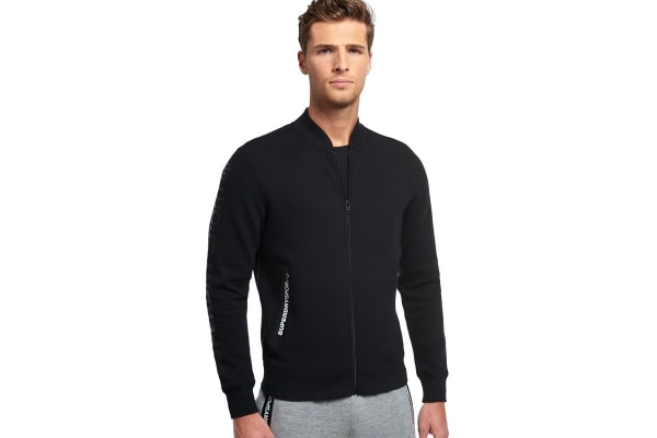 Superdry Men's Gym Tech Bomber Top (Black, Medium)
