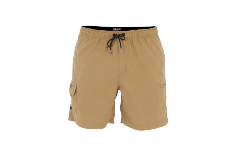 JetPilot Jet Lite Elasticated Men's Shorts - Khaki - 40