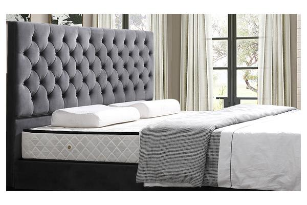 Deluxe Fabric King Size Storage High Foot End Upholstered Bed Frame Charcoal