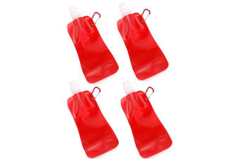 4x Doozie 450ml Collapsible Camping Water Drink Bottle Gym Sport BPA Free Red