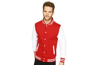 Casual Classic Mens Varsity Jacket (Red/White) (XS)