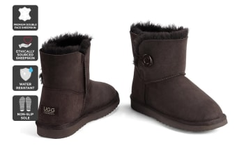 Outback Ugg Boots Mini Button - Premium Double Face Sheepskin (Chocolate, Size 4M / 5W US)