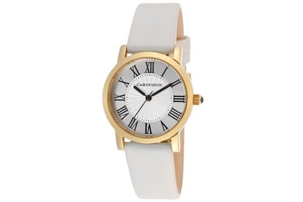 Cabochon Women's Dame Chic Silver Dial White Genuine Leather (CABOCHON-402S-016)