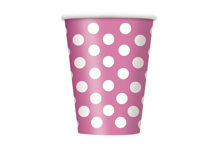 Unique Party Polka Dot Paper Cups (Pack Of 6) (Hot Pink/White) (One Size)