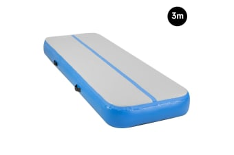 3m Inflatable Gymnastics Mat 20cm Air Track Tumbling Airtrack - Blue
